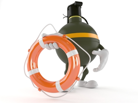 handgrenade: Hand grenade character holding life buoy isolated on white background