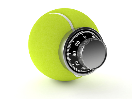 Tennis ball with combination lock isolated on white background Imagens