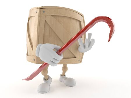wood crate: Crate character holding crowbar isolated on white background Stock Photo