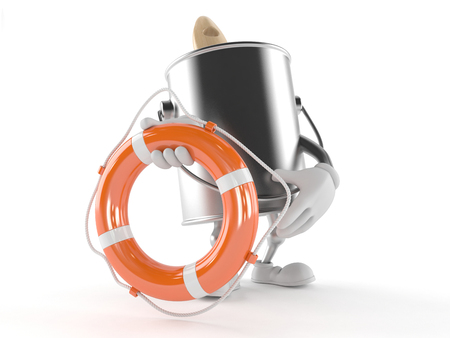 paintcan: Paint can character holding life buoy isolated on white background