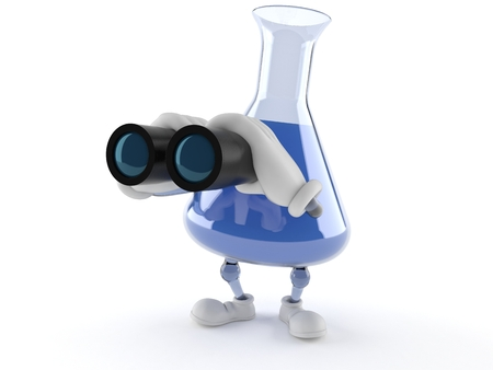 Chemistry flask character looking through binoculars isolated on white background Stock Photo