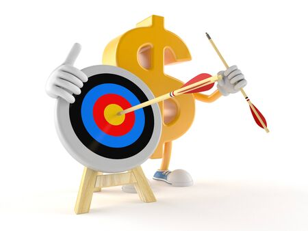 Dollar character with bulls eye isolated on white background Stock Photo