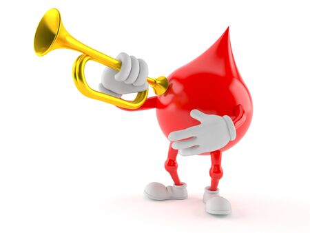 Blood drop character holding trumpet on white background Stock Photo