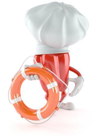 Paprika character holding life buoy isolated on white background Stock Photo