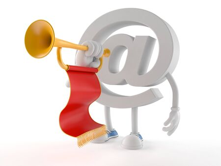 E-mail character playing the trumpet isolated on white background Stock Photo
