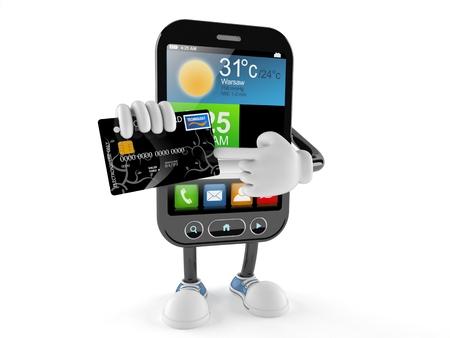 Slim telefoonkarakter met creditcard die op witte achtergrond wordt geïsoleerd