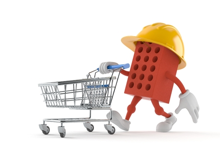 Brick character with shopping cart isolated on white background Stock Photo
