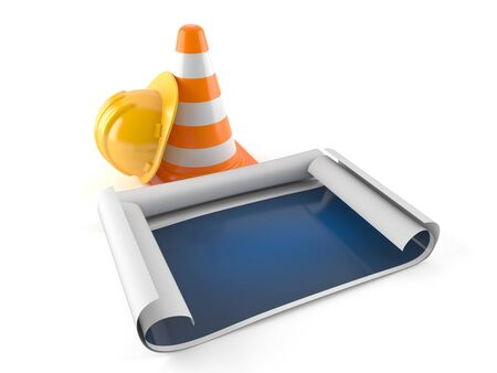 Blueprint with traffic cone and hardhat isolated on white background