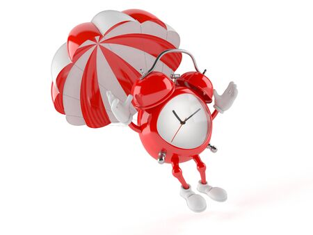 Alarm clock character with parachute isolated on white background