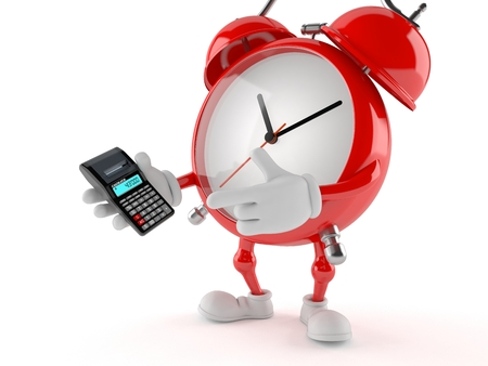 Alarm clock character using calculator isolated on white background