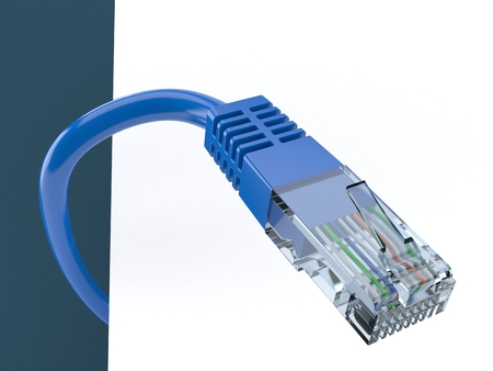 rj 45: Network cable on blue background