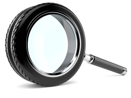 Car magnifying glass isolated on white background