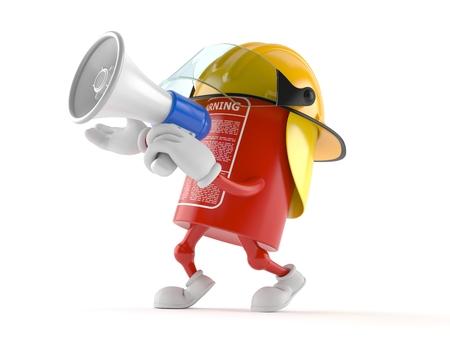 Brandblusapparaatkarakter die door een megafoon spreken die op witte achtergrond wordt geïsoleerd Stockfoto