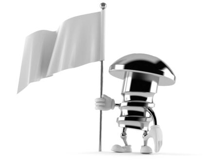surrendering: Bolt character with blank flag isolated on white background