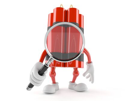 Dynamite character looking through magnifying glass isolated on white background