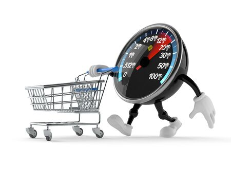 Network speed meter character with shopping cart isolated on white background Stock Photo