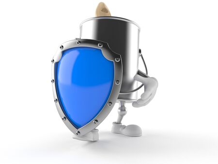 paintcan: Paint can character with shield isolated on white background