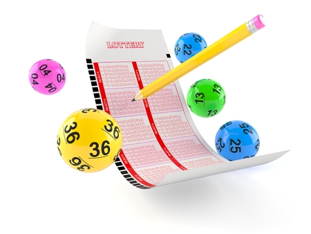 Lottery blank ticket with lotto balls on white background Foto de archivo