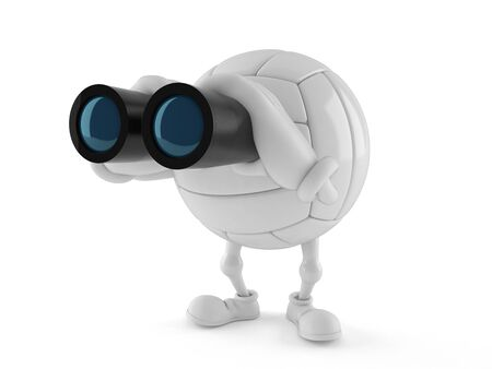 Volleyball character holding binoculars on white background