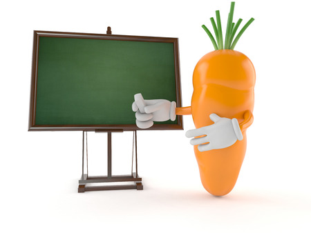 carotene: Carrot character with blank blackboard isolated on white background Stock Photo
