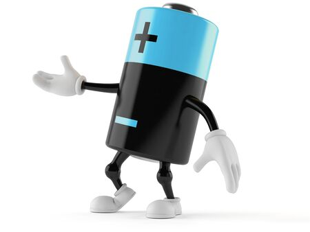 Battery character isolated on white background