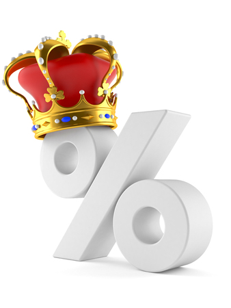 Percent symbol with crown isolated on white background