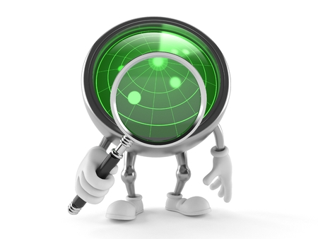 Radar toon with magnifying glass isolated on white background Stock Photo