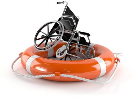 Wheelchair with life buoy isolated on white background Stock Photo