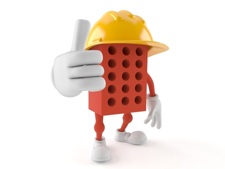 all ok: Brick character with thumbs up isolated on white background