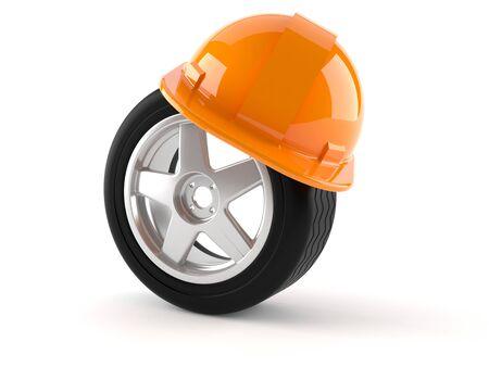 rim: Wheel with hardhat isolated on white background
