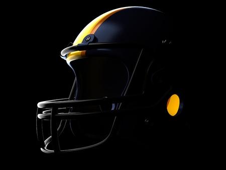 Football helmet on black background
