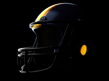 Football helmet on black background