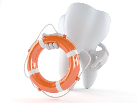 Tooth character holding life buoy isolated on white background
