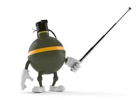 Hand grenade character holding pointer stick isolated on white background