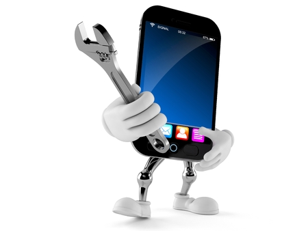 Smart phone character holding adjustable wrench isolated on white background Foto de archivo