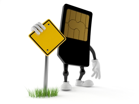 SIM card character with blank road sign isolated on white background Stock Photo
