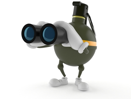 Hand grenade character looking through binoculars isolated on white background