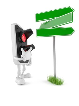 Red light character with blank signpost isolated on white background
