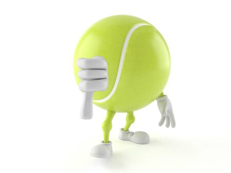 Tennis ball character with thumb down isolated on white background