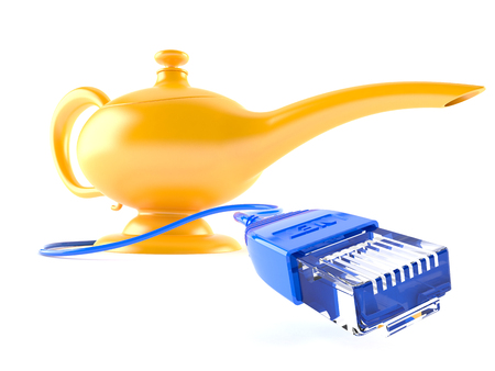 rj 45: Aladdins lamp with network cable isolated on white background