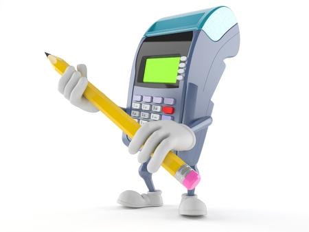Het potlood van de het karakterholding van de creditcardlezer dat op witte achtergrond wordt geïsoleerd