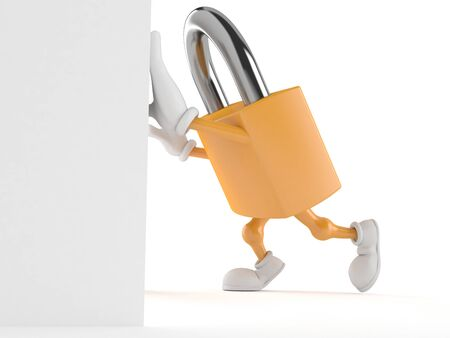 private access: Padlock character isolated on white background Stock Photo