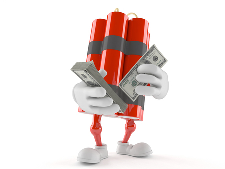 Dynamite character with money isolated on white background