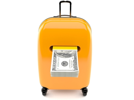 paying: Suitcase with money isolated on white background Stock Photo