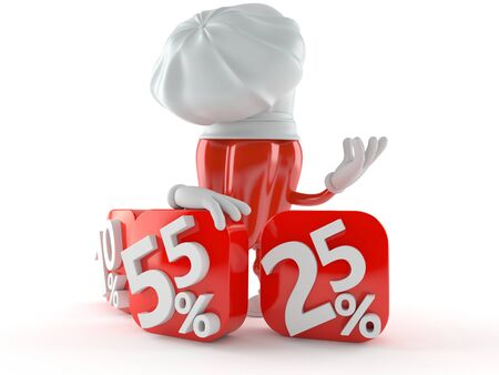 Chef character with percent symbols isolated on white background