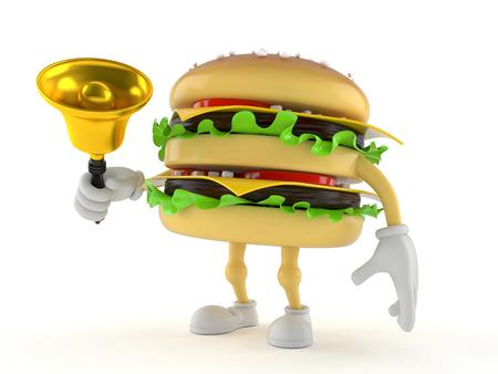 Hamburger character ringing a handbell isolated on white background Stock Photo