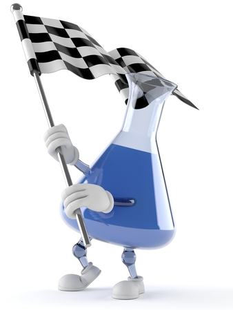 Chemistry flask character with racing flag isolated on white background Stock Photo