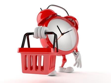 Alarm clock character holding shopping basket isolated on white background