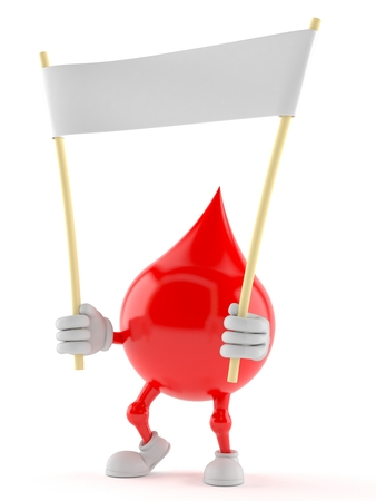 Blood drop character holding blank banner isolated on white background