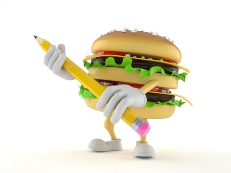 Hamburger character holding pencil isolated on white background